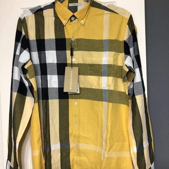 Burberry Shirts   Designer Nova Yellow Check Shirt M   Poshmark fe84591107
